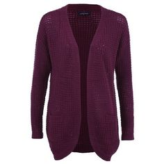 ONLY Women's Emma Long Cardigan - Windsor Wine (44 CAD) ❤ liked on Polyvore featuring tops, cardigans, red, red top, loose cardigan, long cardigan, long red cardigan y purple cardigan