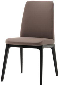 Lausanne dining chair, Bahia stone leather, black stained oak veneer - BoConcept Furniture Sydney Australia