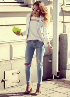 Pale denim with white top and white leather coat