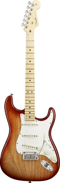 The Fender American Standard Stratocaster has had a 2012 upgrade! New American Standard Strat features include aged plastic parts and full-sounding Fender Custom Shop Fat '50s pickups. With a Sienna Sunburst and a Candy Cola finish, the 2012 update is the very essence of Strat tone, beauty and feel.