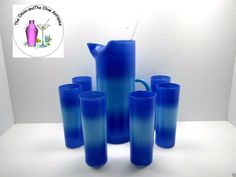 3f8c9d216a7 Vintage Blendo Ombre Blue Light Blue Tom Collins Highball Glasses Tall  Pitcher