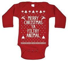 Merry Christmas Ya Filthy Animal Baby Long Sleeve One Piece 12 Months Red