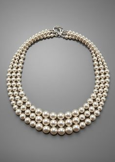 3 strand graduated pearl necklace by Demoiselle