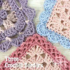 Crochet Border Patterns, Crochet Blanket Border, Crochet Boarders, Basic Crochet Stitches, Crochet Basics, Knitting Patterns, Crochet Squares, Crochet Edges For Blankets, Granny Squares