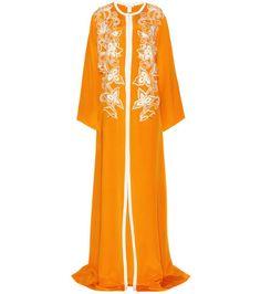 Orange-weißes besticktes Seidenkleid