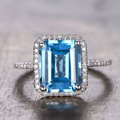 Emerald cut Blue Topaz Engagement Ring Pave Diamond Wedding White Gold - Lord of Gem Rings - 1 Blue Wedding Rings, Cheap Wedding Rings, Diamond Wedding Rings, Wedding Jewelry, Buy Diamond Ring, Halo Diamond, Diamond Jewelry, Silver Jewelry, Pave Ring