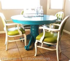 DIY Dining set updates- The Budget Decorator ~ Lovin the Teal Table Turquoise Kitchen Tables, Teal Table, Turquoise Table, Teal Kitchen, Painted Kitchen Tables, Kitchen Table Makeover, Diy Kitchen, Painted Tables, Diy Dining Table