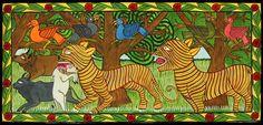 "Two Tigers Hunting (#GCH0606)  Gurupada Chitrakar- West Bengal, India  c.2005  Water-based paint on paper  (13"" h. x 28"""" w. )    $160 Krishna Leela, Pilgrimage, Bengal, Indian Art, Deities, Folk Art, Art Gallery, Elephant, Romantic"