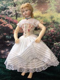 """18/""""  Antique Doll  Dress PATTERN Bretelle Style Bonnet  Kestner"""