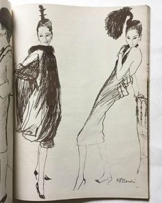 René Bouché Illustration of China Machado Looking Model in Hubert de Givenchy Cocktail Dress for Vogue October 15, 1957