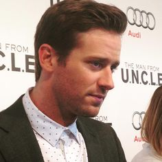 #ArmieHammer thinking hard about your #ManFromUNCLE fan questions on the red carpet.