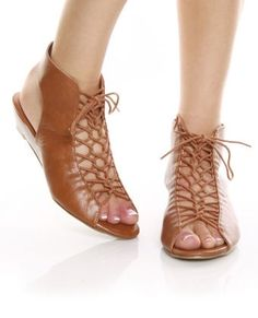 Bonnibel String 1 Tan Lace-Up Bootie Sandals - $25.00 - StyleSays