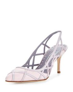 "Manolo Blahnik Enatos Lattice Slingback Pump, Rosa Pink - Manolo Blahnik linen and leather pump. 3"" covered heel. Pointed toe. Lattice vamp. Slingback strap with stretch inset. Smooth outsole. ""Enatos"" is made in Italy."