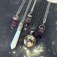 Fluorite Necklaces, Opalite Pendant, and Handmade Moon Jewelry! #BeautifulFineNecklaces
