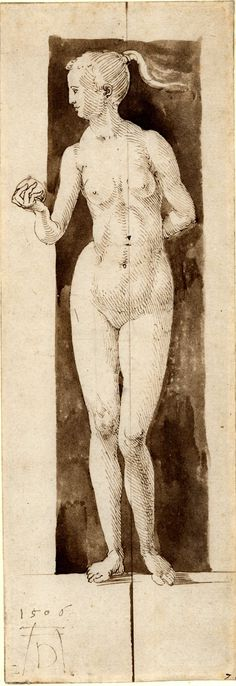 Albrecht Dürer, 1471-1528, German, Study for the figure of Eve (traced through from verso), 1506. Pen and brown ink, with brown wash on paper, 27.8 x 9.7 cm. British Museum, London. German Renaissance.