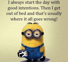 I always start the day with good intentions.  Then I get out of bed and that's usually where it all goes wrong! - minion
