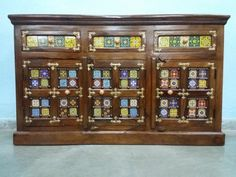 For Sale Sheesham Wood, Brass & Tile Fitted Side Board For More Information Please Visit  http://usedfurnitures.in/product/tile-brass-side-board-2042 or www.usedfurnitures.in or Call: 8826755599