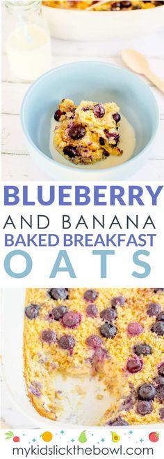 Blueberry banana baked breakfast oats, A healthy easy baked oatmeal recipe.
