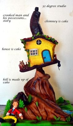 crooked house whimsical cake made at 32 degree studio