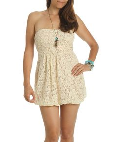 #Lace #Bubble bottom Dress, cream colors, with texture, strapless, they cuffed her with turquoise and same for necklace, it's a blank slate, you can put anything on with it and you will looking smashing beautiful i can see @Hayden Pa