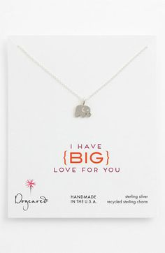 Dogeared 'Big Love for You' Elephant Pendant Necklace | Nordstrom  OMG IT'S PERFECT