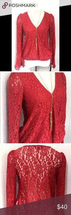 Red Lace Bell Sleeve Blouse With Gold Necklace Med New with tags. Gold Tassel necklace attached. Sheer red lace back and sleeves. Bell sleeves.  Gorgeous red. Medium My Michelle Tops Blouses
