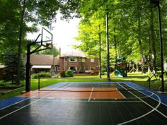 Backyards landscapes and sports on pinterest for Small basketball court