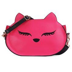 Women PU Leather Fox Head Shoulder Bag Crossbody Bag