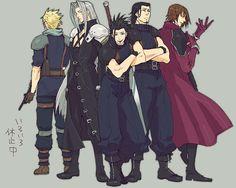 Final Fantasy 7 Crisis Core. Cloud, Sephiroth, Zack, Angeal & Genesis