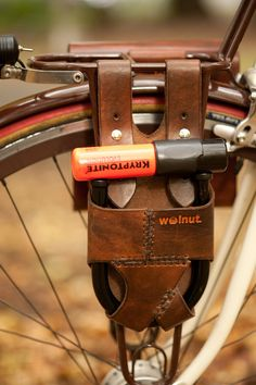 Leather Bike ULock Holster  RackMounted   for 55 by WalnutStudiolo, $64.00