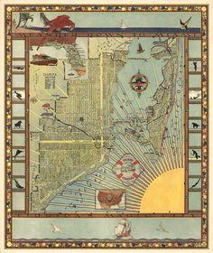 Vintage map of Miami (1935). Miami Map, Miami Florida, Vintage Wall Art, Vintage World Maps, Pictorial Maps, Magic City, Fine Art Prints, Canvas Prints, Old Maps