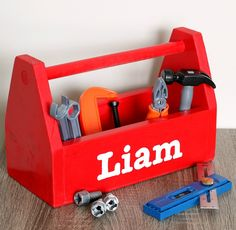 Build a Kids' Tool Box for your little one to tote around. This a very simple project that you can build with scrap wood! Get the free DIY plans from @jenwoodhouse at buildsomething.com