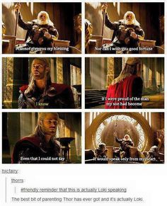 That comment is kinda sad, the best parenting that Thor ever got from Odin and it wasn't even Odin
