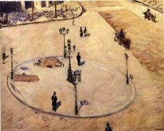 Gustave Caillebotte — Traffic Island on Boulevard Haussmann via Gustave...