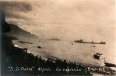 SS Dacia french cable layer, afterthe explosion 3-XII-1916, Funchal bay, Madeira island.