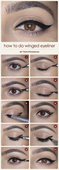 10 Easy Step-By-Step Eyeliner Tutorials For Beginners: #6. Natural Winged Eyeliner Look – Step By Step Eyeliner Tutorial