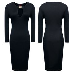 Keyhole With Metal buckle Open-Chest Bodycon Pencil Party Dress US Size 0-18  Features: Intro:Sleeveless,Round-neck,Knee-length,Split Joint Color:Black , Red Material:70%Rayon+25%Polyester+5%Spandex www.apuremall.com