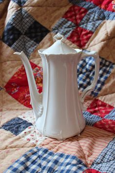 WHITE COFFEE POT with Lid Baronesse White Coffee by TheJellyJar