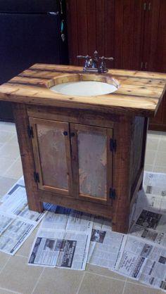 Rustic Bathroom Vanity barn wood pine by FarmhouseWoodAndIron, $650.00