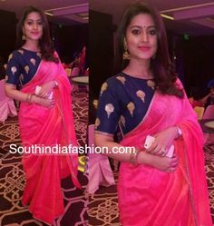 Actress Sneha in a simple pink raw silk saree paired with contrast blue embroidered boat neck elbow length sleeves blouse Choli Designs, Blouse Neck Designs, Saree Draping Styles, Saree Styles, Party Wear Dresses, Party Wear Sarees, Sneha Saree, Saree Color Combinations, Raw Silk Saree