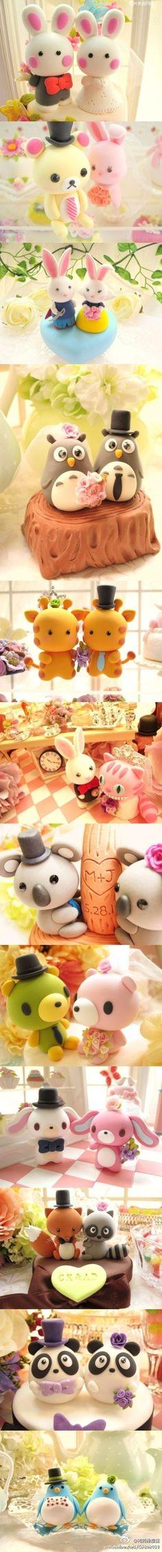 Cute animals couples  - 婚礼蛋糕。其实可以用软陶cos~~