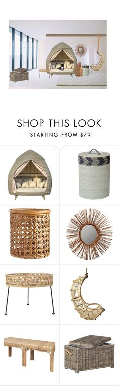 """""""Rattan Room"""" by christined1960 ❤ liked on Polyvore featuring interior, interiors, interior design, home, home decor, interior decorating, Pottery Barn, Bloomingville, Holly's House and Safavieh"""