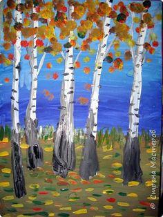"""Благодаря работе Марины """"Мы рисуем осень"""" (http://stranamasterov.ru/node/1049345), у нас тоже появилась своя осенняя рощица. Первая работа моя, потом немного детских (возраст 5-6 лет). фото 2"""
