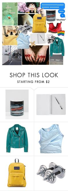 """my son, deku"" by magicaltomboi ❤ liked on Polyvore featuring Manic Panic NYC, MANGO, adidas, D&G, Dr. Martens and JanSport"