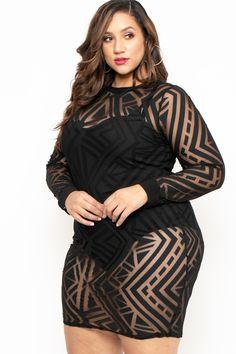 Plus Size Geometric Mesh Burn Out Dress - Black– Curvy Sense Trendy Plus Size Clothing, Plus Size Dresses, Plus Size Outfits, Plus Size Fashion, Nice Dresses, Amazing Dresses, Thick Girl Fashion, Curvy Women Fashion, Full Figure Fashion