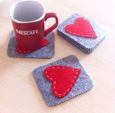 Valentines Set of coasters. Handmade Felt by HandMadeByMMartynova