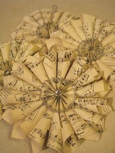 Sheet Music Wreath Ornaments. I have lots of sheet music left over from college...