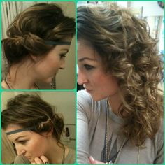 So glad i found out about this style! Sleep with damp hair tucked/wrapped around a stretchy headband, in the morning pull headband off and shake head when ready to go. Heat-free curls!! P.s. the best way to do this is start at either side of your hair and grab about an inch section and tuck that over and through the band, take that section and add some more hair and repeat working your way from both sides to meet at the nape area. With the last section of hair.. if your hair is too long to…