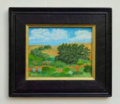 Original southwest landscape painting of a New Mexico mesa by Robert Price. Available with or with this handmade reclaimed wood frame. www.etsy.com/shop/robertpricegallery