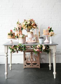 A Brunch Wedding Dessert Table Inspiration - Get this look with our candlesticks, vases, and cake stands! Sweet Table Wedding, Dessert Bar Wedding, Brunch Wedding, Wedding Desserts, Wedding Cakes, Wedding Decorations, Cozy Wedding, Wedding Cake Display, Wedding Dessert Tables